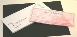 gift certificates and envelopes